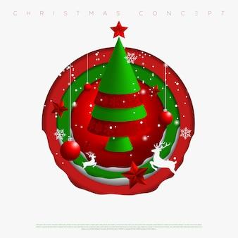 メリークリスマスと新年の円の背景に雪片、星、鹿、クリスマスツリーの切り抜き紙層から成っています。 。