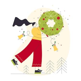 Веселого рождества и зимних праздников счастливый женский персонаж держит праздничный рождественский венок с шарами