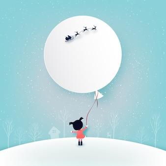 Веселого рождества и зимнего сезона фон. девушка и ее воздушный шар с санта-клаусом в санях.