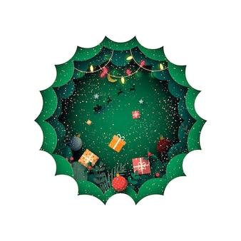 Веселого рождества и зимнего сезона в зеленом фоне, украшенном подарочной коробкой и санта-клаусом в санях.