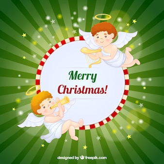 楽器とのメリークリスマス天使の背景