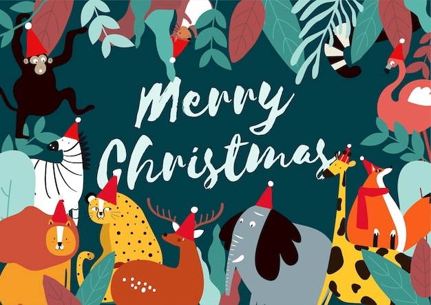 Merry christmas animal theme card vector