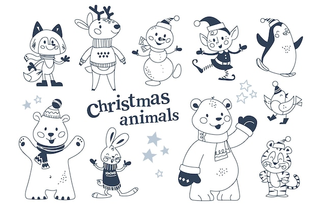 Merry christmas animals characters in winter clothes and snowman, elf collection isolated. polar bear, penguin, rabbit, reindeer. vector flat illustration. for card, banner, print, pattern, invitation