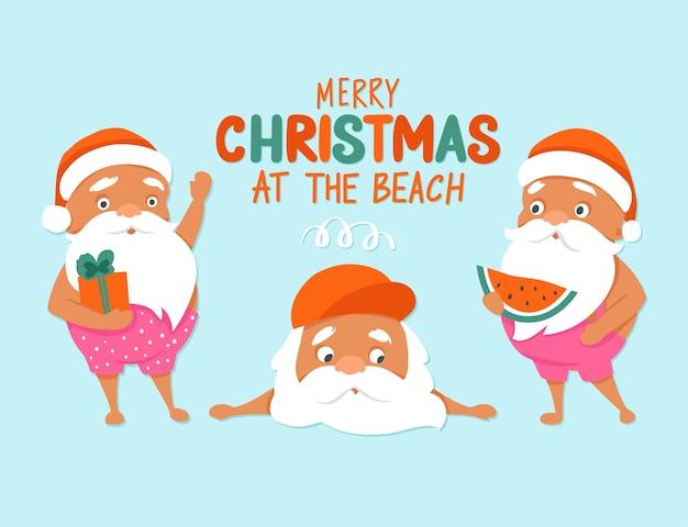 해변에서 메리 크리스마스. 여름 산타 캐릭터. 열대 크리스마스와 새해 복 많이 받으세요
