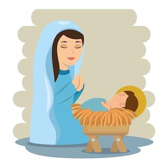 マリアとマージャーに横たわるメリークリスマスの赤ん坊のイエス