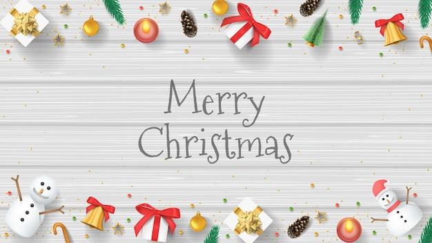 메리 크리스마스 배경 배너 벡터 흰색 나무 배경
