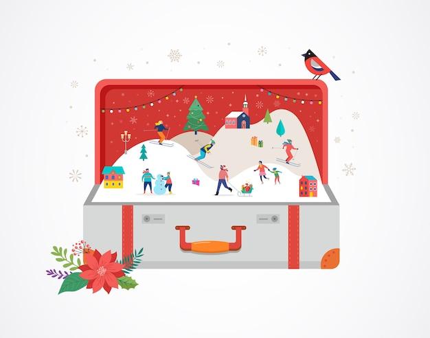 メリークリスマスの背景、冬のシーンと小さな人々、若い男性と女性、雪、スキー、スノーボード、そり、アイススケートを楽しんでいる家族との大きなオープンスーツケース。