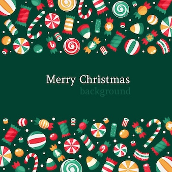 メリークリスマスの背景。クリスマスのお菓子やキャンディーのコレクション。
