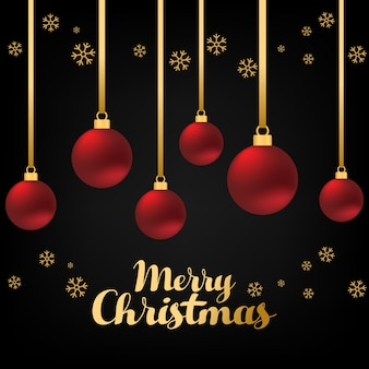 赤いグリスターボールと金色の雪の結晶で装飾的なメリークリスマスの背景の概念