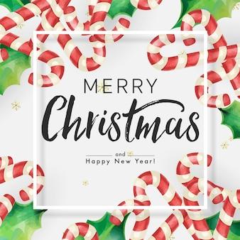 キャンディの杖と白い背景の上のフレームとクリスマスの飾りで飾られたメリークリスマスの背景