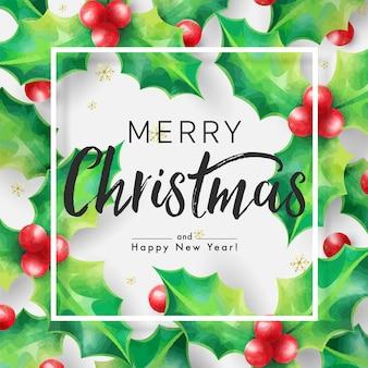 ホリーと白い背景の上のフレームとクリスマスの飾りで飾られたメリークリスマスの背景