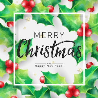 Merry christmas background decorated by holly and christmas ornaments with frame on white background