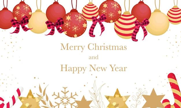 美しいクリスマス飾りとメリークリスマスの背景デザイン