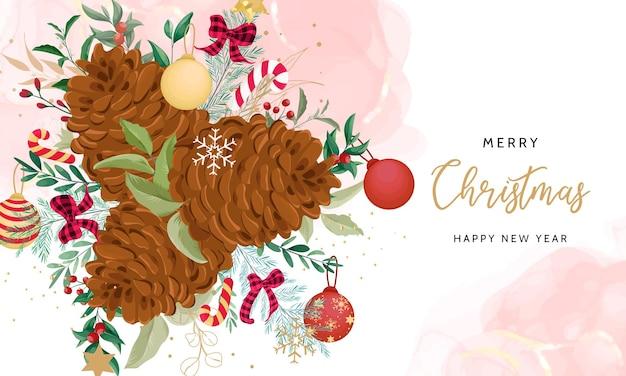 아름다운 크리스마스 장식으로 메리 크리스마스 배경 디자인
