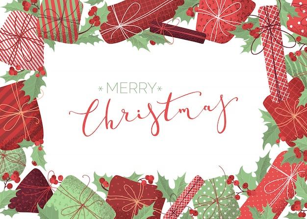 Счастливого рождества фон. плоский дизайн шаблона с рисованной текстурой зерна. листья и ягоды омелы, подарки, гирлянды из красных и зеленых ламп.