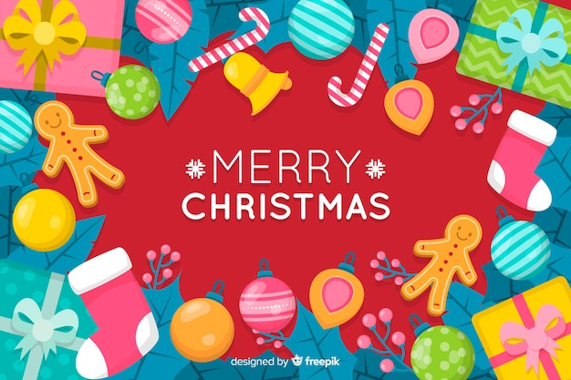 Merry christmas background in flat design