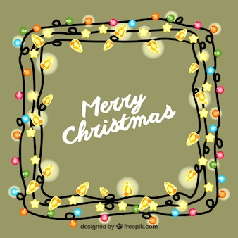 Merry christmas background in a frame of christmas lights