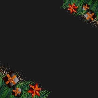 新しい現実的なクリスマスの要素ベクトルとメリークリスマスの背景フレーム