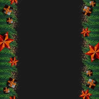 現実的なクリスマスの要素ベクトルとメリークリスマスの背景フレーム