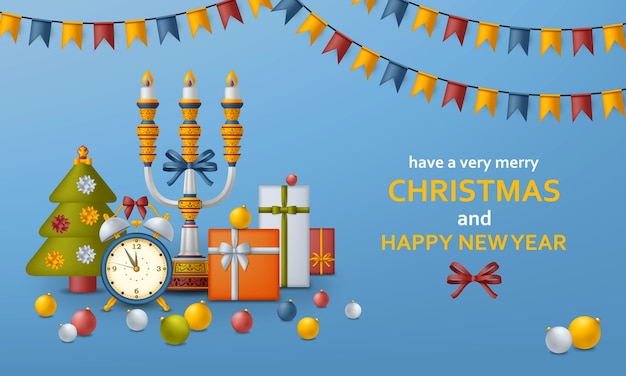 Merry christmas background and happy new year golden balls, gift boxes and alarm clock