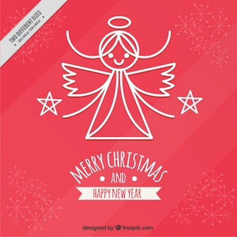 Merry christmas background and happy new year with cute angel