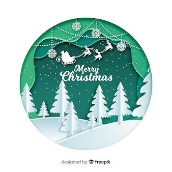 Веселого рождественского фона в стиле бумажного искусства