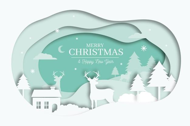 紙のスタイルのコンセプトでメリークリスマスの背景