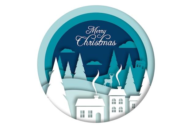 紙のスタイルのデザインでメリークリスマスの背景