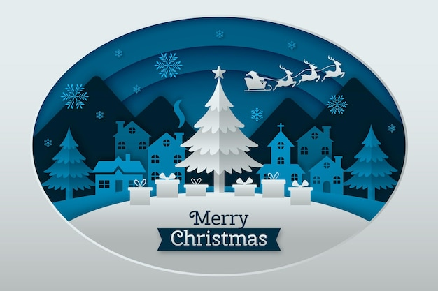 紙のスタイルをテーマにしたメリークリスマスの背景