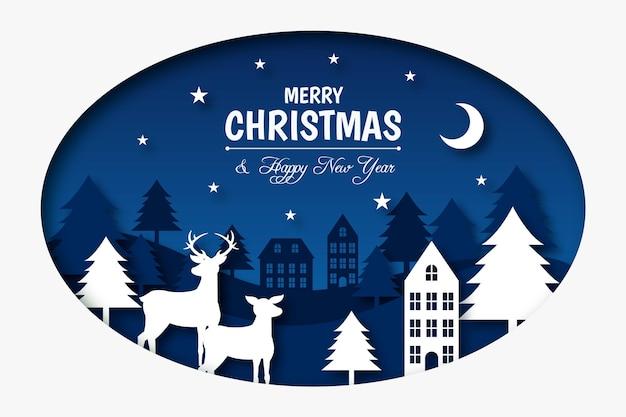紙のスタイルでメリークリスマスの背景