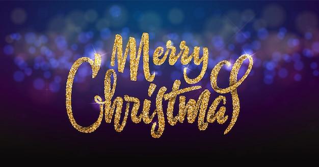 Merry christmas on the background light bokhe.