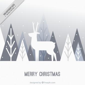 フラットデザインの鹿や木のメリークリスマス背景