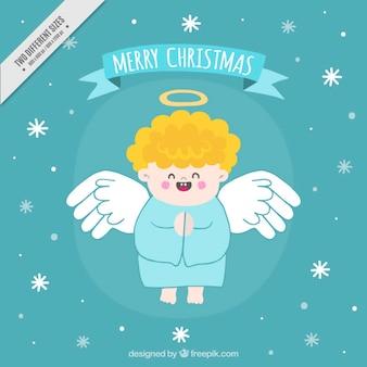 手描き面白い天使のメリークリスマスの背景