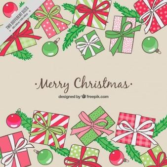 手描きのギフトやつまらないのメリークリスマス背景