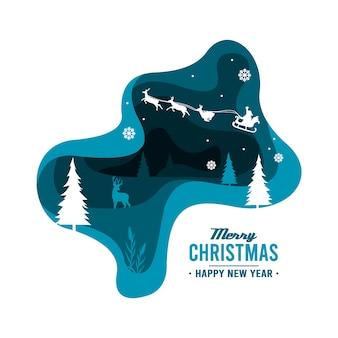 メリークリスマス背景ペーパーアートスタイル