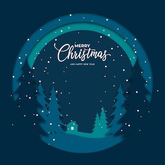 메리 크리스마스 배경 종이 컷 스타일