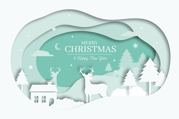 Merry christmas background in paper style concept