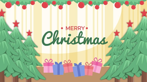 Merry christmas background in the room there is a tree, gifts and merry christmas text