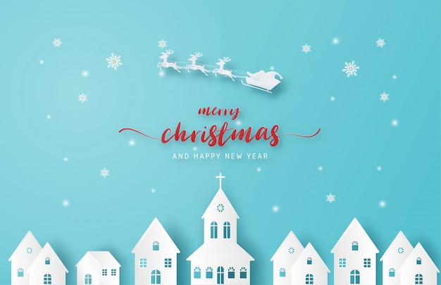 Merry christmas background. santa claus and reindeer flying over city in paper cut style on blue background.