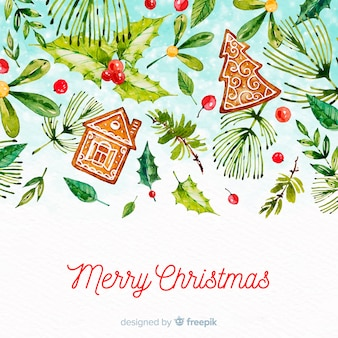 Merry christmas background watercolor style