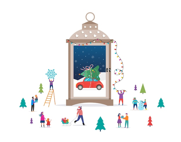 Merry christmas background, winter wonderland scene in a snow globe, candle lantern, and small people, young men and women, families having fun in snow