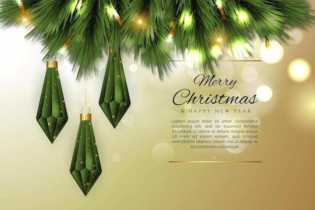Счастливого рождества фон с реалистичными ветками и рисунками рождества