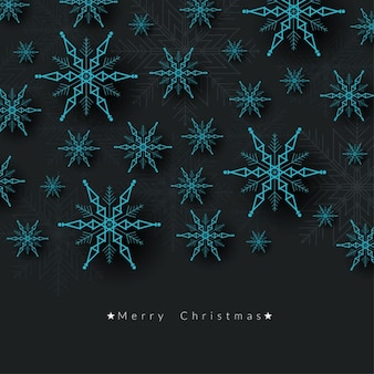 Merry christmas background with abstract snowflakes