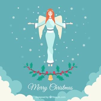 フラットデザインの天使とメリークリスマスの背景