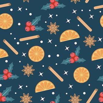 파란색 배경에 홀리 열매와 오렌지가 있는 메리 크리스마스 배경. 귀하의 디자인에 대 한 배경입니다. 벡터 일러스트 레이 션.