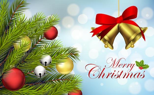 メリークリスマスの背景と鐘