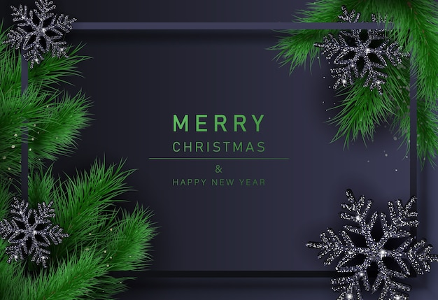 Merry christmas background with black snowflakes