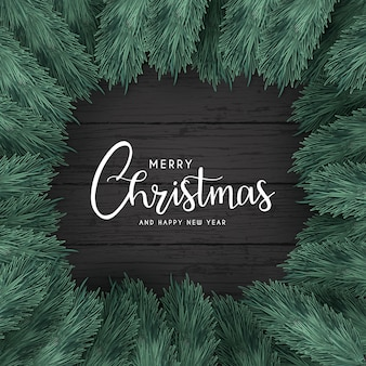 Merry christmas background with black wood