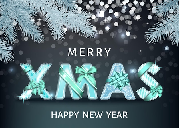 Merry christmas background with blue decorative letters with  gift bow, ribbon  and spruce branch.  happy new year. xmas text. winter holiday decoration. vector greeting card.