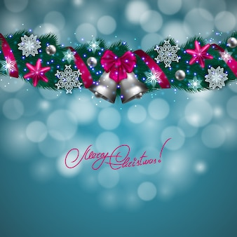 Merry christmas background with bokeh lights